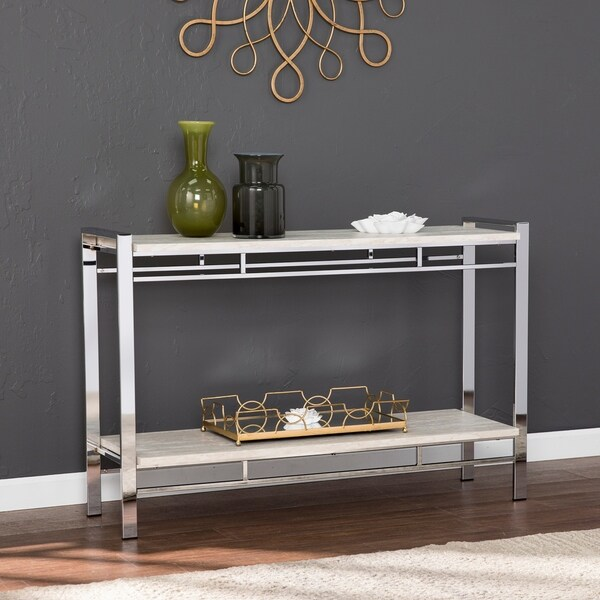 Tameli Faux Stone Console Table with Shelf