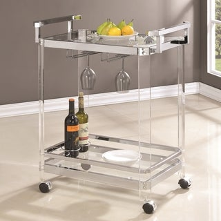 Modern Chic Design Chrome and Acrylic Wine Storage Serving Cart
