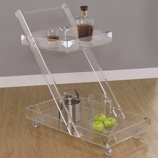 Modern Chic Design Chrome and Acrylic Serving Cart