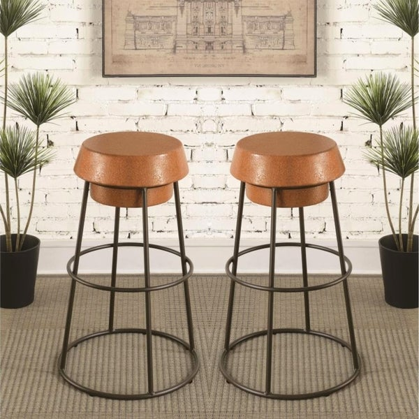 Shop Industrial Style Cork Design Counter Height Stools Set Of 2 Free Shipping