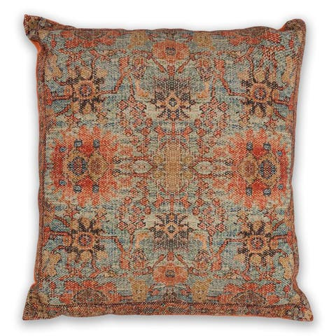 KAS Teal/Coral Zena Decorative Throw Pillow