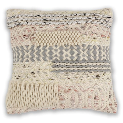 KAS Ivory/Blush Cabo Chunky Knit Throw Pillow