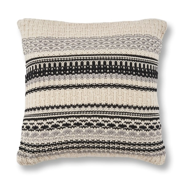 KAS Ivory/Black Sweater Chunky Knit Throw Pillow