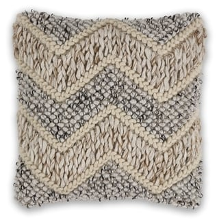 KAS Beige/Grey Elements Chunky Knit Throw Pillow