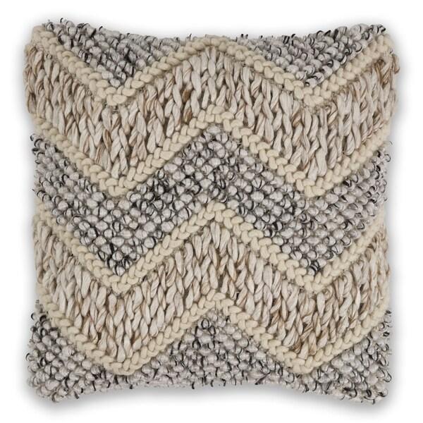 KAS Beige/Grey Elements Chunky Knit Throw Pillow