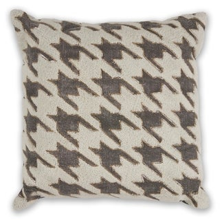 KAS Ivory/Grey Houndstooth Decorative Throw Pillow