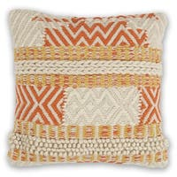 KAS Ivory/Spice Playa Chunky Knit Throw Pillow