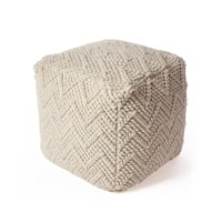 KAS Rugs Ivory Wool Chevron Cable Pouf