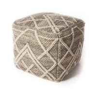 KAS Crossways Grey Wool Pouf