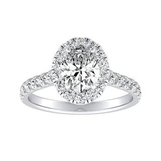 Auriya Platinum Certified 7/8ct TDW Oval-cut Diamond Halo Engagement Ring - White I-J