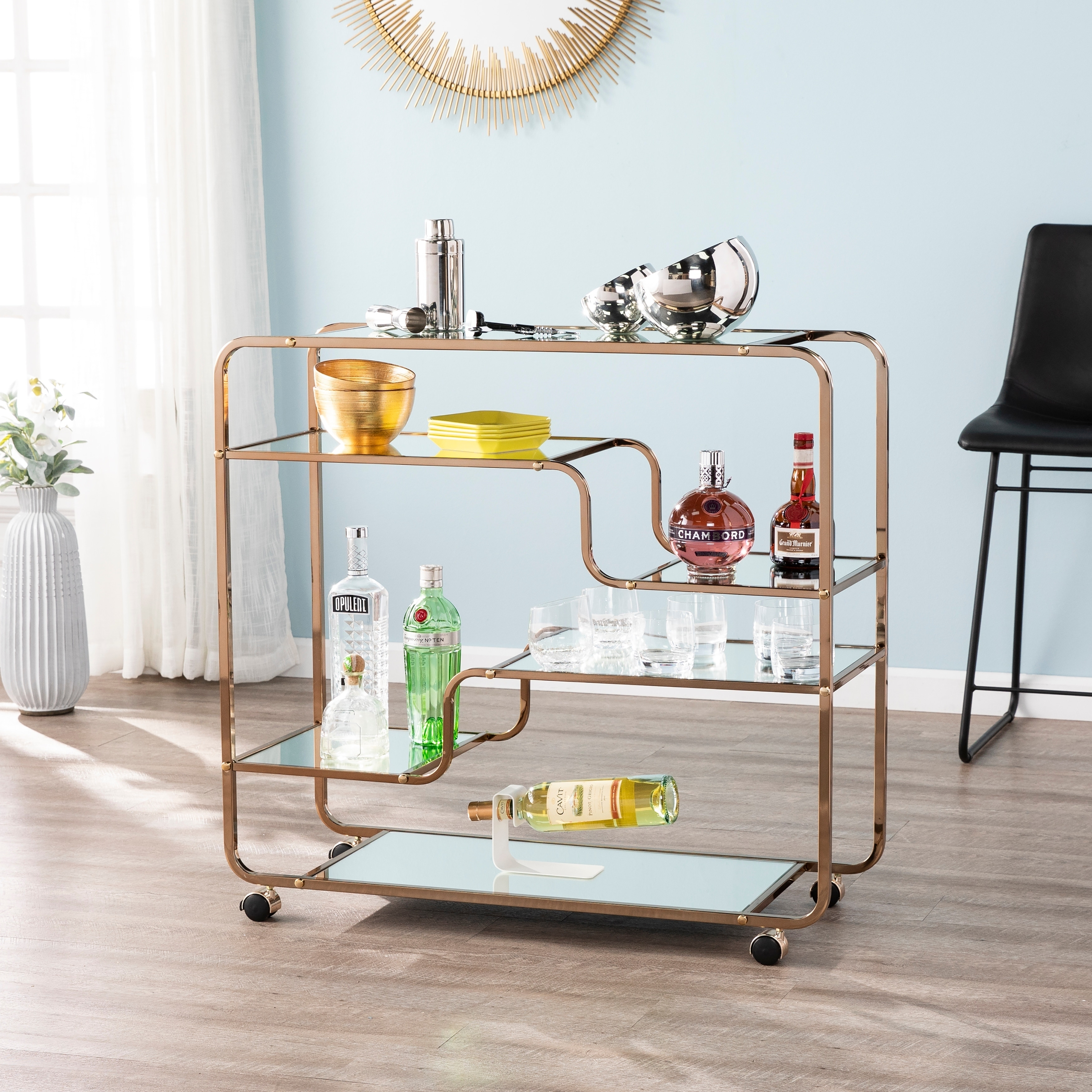 Carson Carrington Stovring Champagne Gold Mirrored Bar Cart Overstock 23122792