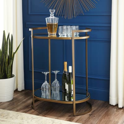 Silver Orchid Grant Mirrored Gold Oval Glam Bar Table