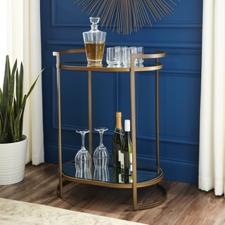 Silver Orchid Grant Mirrored Shelf Glam Bar Table