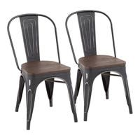 Oregon Stackable Dining Chair in Metal and Wood (Set of 2)