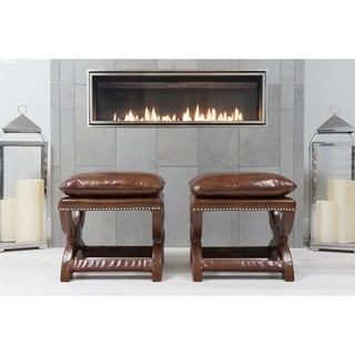 Elements Fine Home Furnishings Adrian Rustic Top-grain Leather Bench (Set of 2)