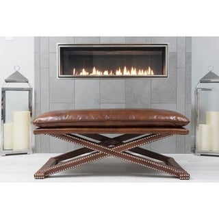 Elements Fine Home Furnishings Chadwick Brown Top Grain Leather Bench