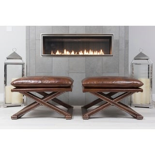 Elements Fine Home Furnishings Chase Rustic Brown Top-grain Leather Benches (Set of 2)