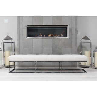 Elements Fine Home Furnishings Chandler Collection Seashell Fabric/Metal Oversized Tufted Bench