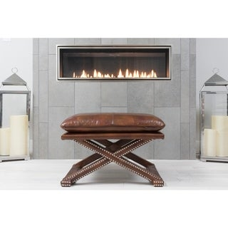 Elements Fine Home Furnishings Chase Brown Wood/Top Grain Leather Rustic Bench