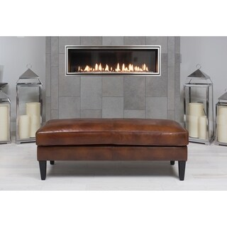 Elements Fine Home Furnishings Cole Brown Rustic Top Grain Leather Bench