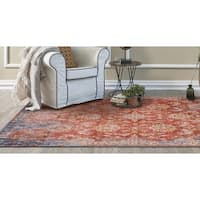 KAS Manor Expressions Spice/ Blue Distressed Area Rug - 8' x 10'