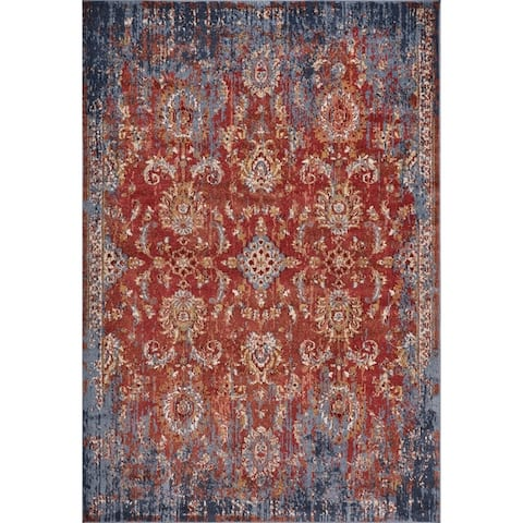 KAS Manor Spice/Blue Distressed Expressions Rug
