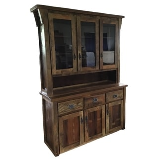 Amish-Made Cabinet & Hutch in Rustic Reclaimed Barnwood