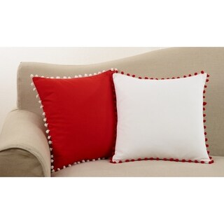 Cotton Pom Pom Trimmed Down Filled Throw Pillow