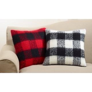 Faux Mohair Plaid Design Down Filled Accent Throw Pillow