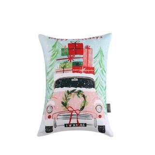Sara B. Christmas Car Rectangle Throw Pillow