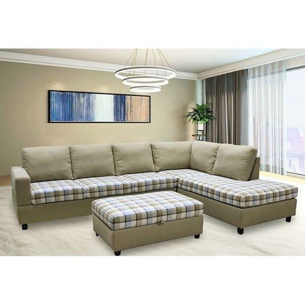 Shop Plaid Linen Fabric Sectional Sofa with Storage Ottoman - Free ...