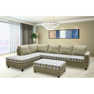 Plaid Linen Fabric Sectional Sofa with Storage Ottoman