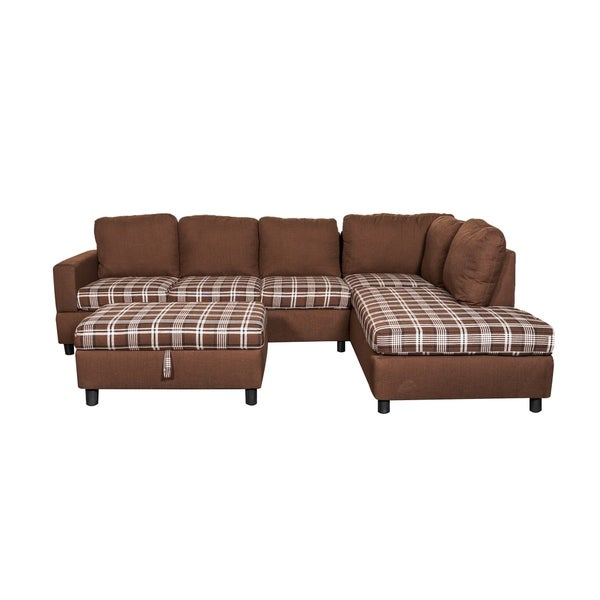 Shop Linen Fabric Sectional Sofa With Storage Ottoman