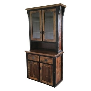 Amish-Made 2-Door Hutch in Rustic Reclaimed Barnwood