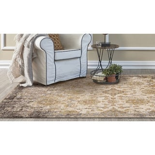 KAS Manor Ivory/Taupe Distressed Empire Rug - 4' x 6'