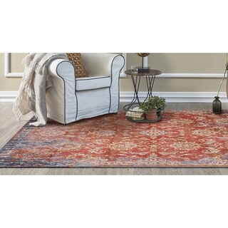 KAS Manor Spice/Blue Distressed Expressions Rug - 4' x 6'