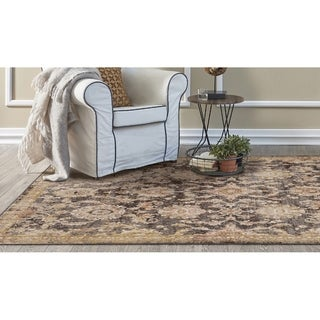 KAS Manor Taupe Distressed Chester Rug - 4' x 6'