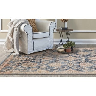 KAS Manor Denim Distressed Chester Rug - 4' x 6'