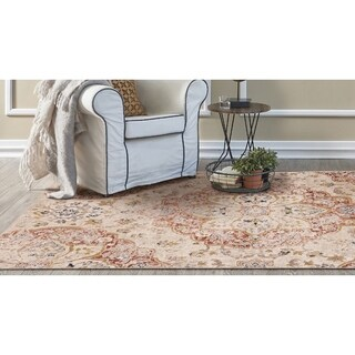 KAS Manor Ivory Distressed Manor Rug - 4' x 6'
