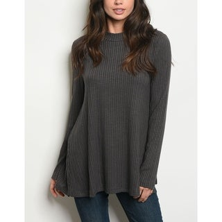 JED Women's Ribbed Knit Mock Neck Long Sleeve Top