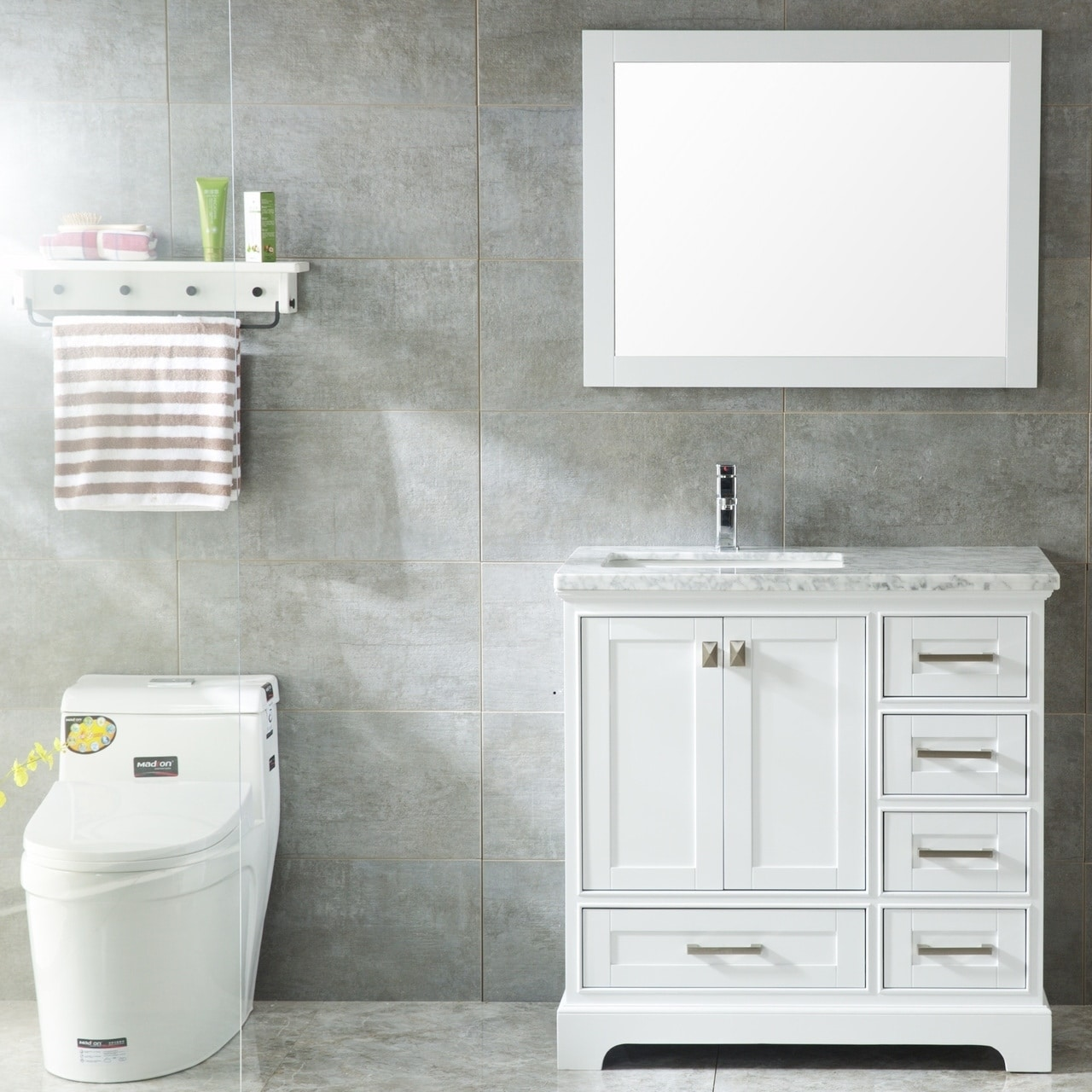 Havana 36 Inch Single Sink Modern Bathroom Vanity Set White Overstock 22824750