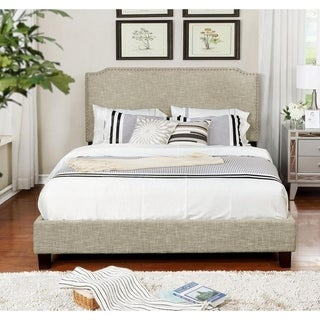 Queen Size Upholstered Panel Bed with Nailhead, Beige