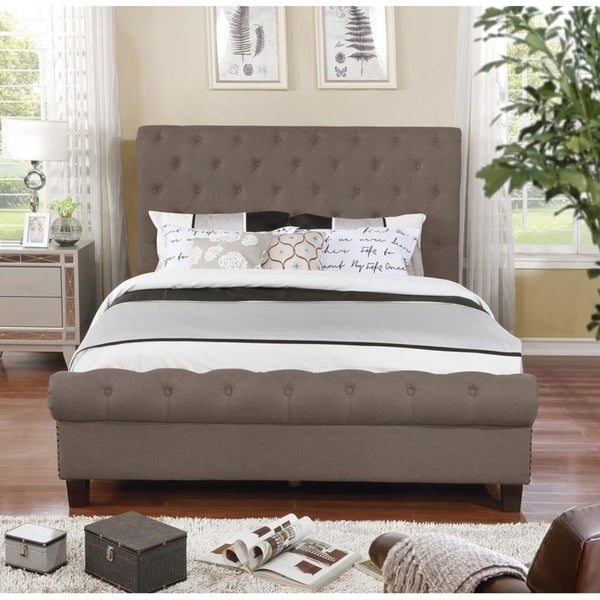 Queen Size Upholstered Rounded Panel Bed