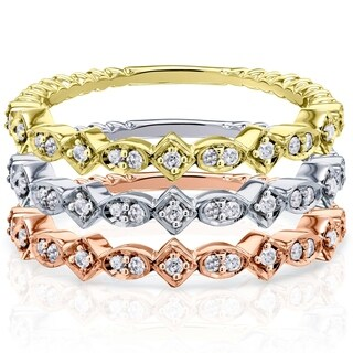 Annello by Kobelli 10k Gold 1/10ct TDW Stackable Fashion Diamond Ring