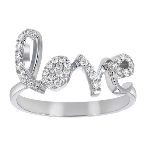 14K White Gold 1/4ct TDW Diamond LOVE Ring