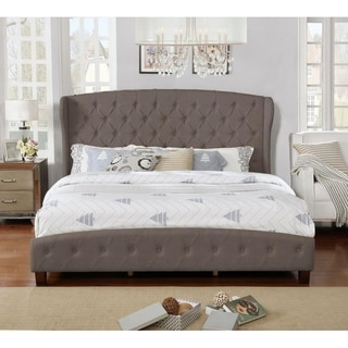 King Size Upholstered Wingback Platform Bed Set, Brown