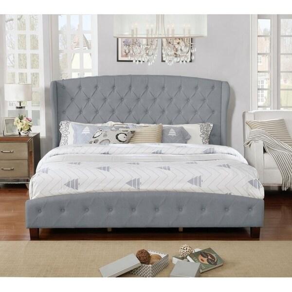Button Tufted Fully Upholstered Platform Shelter Bed, Gray, King Size