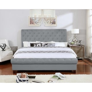 Fully Upholstered Rounded Platform Bed, King Size Gray