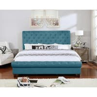 Easetern King Size Blue Upholstered Rounded Panel Bed