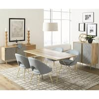 Natural Mango Solid Wood Dining Set with Matching Server and Wine Cabinet